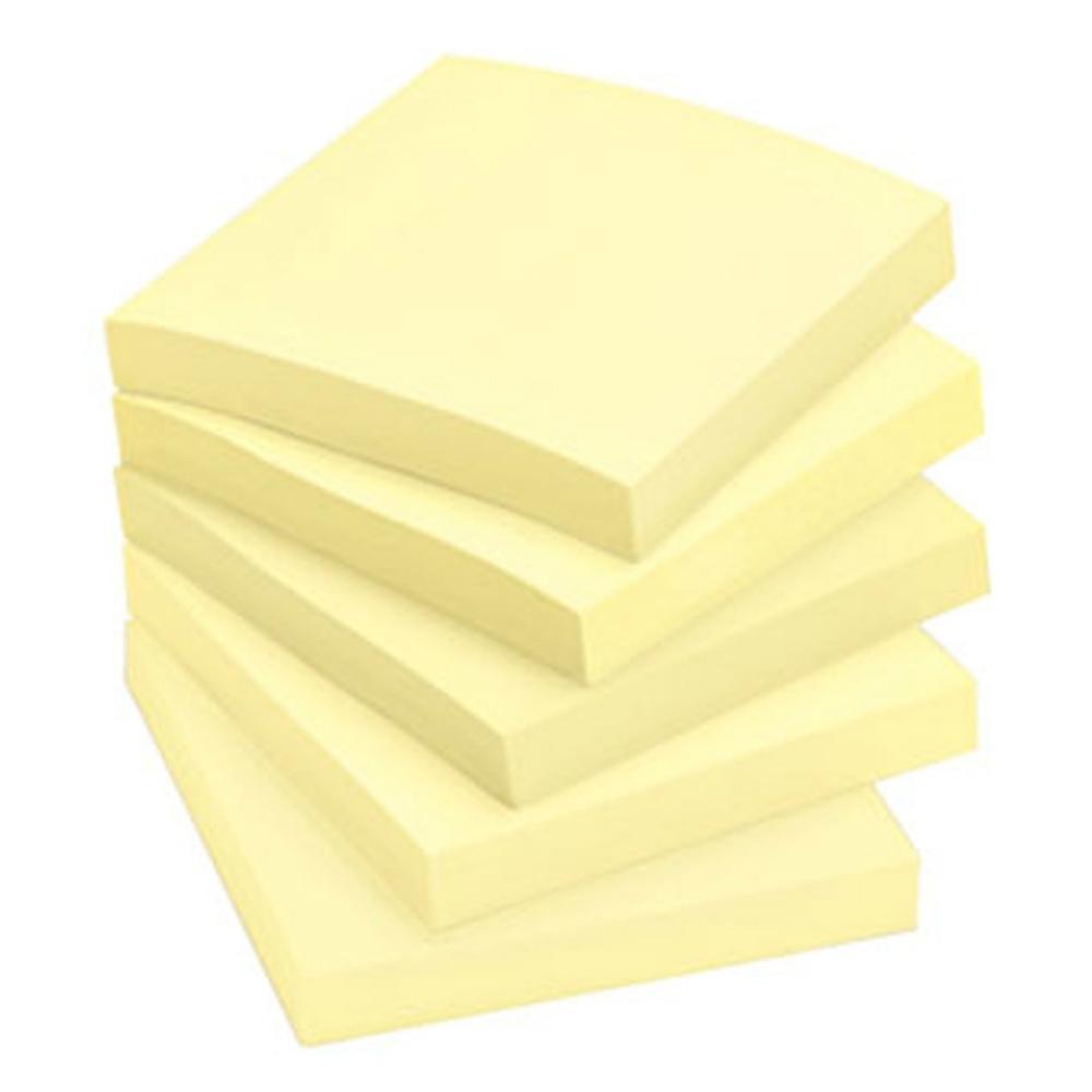 חמישה קוביות דפי ממו דביק צהוב של 100 דפים (מזכריות)