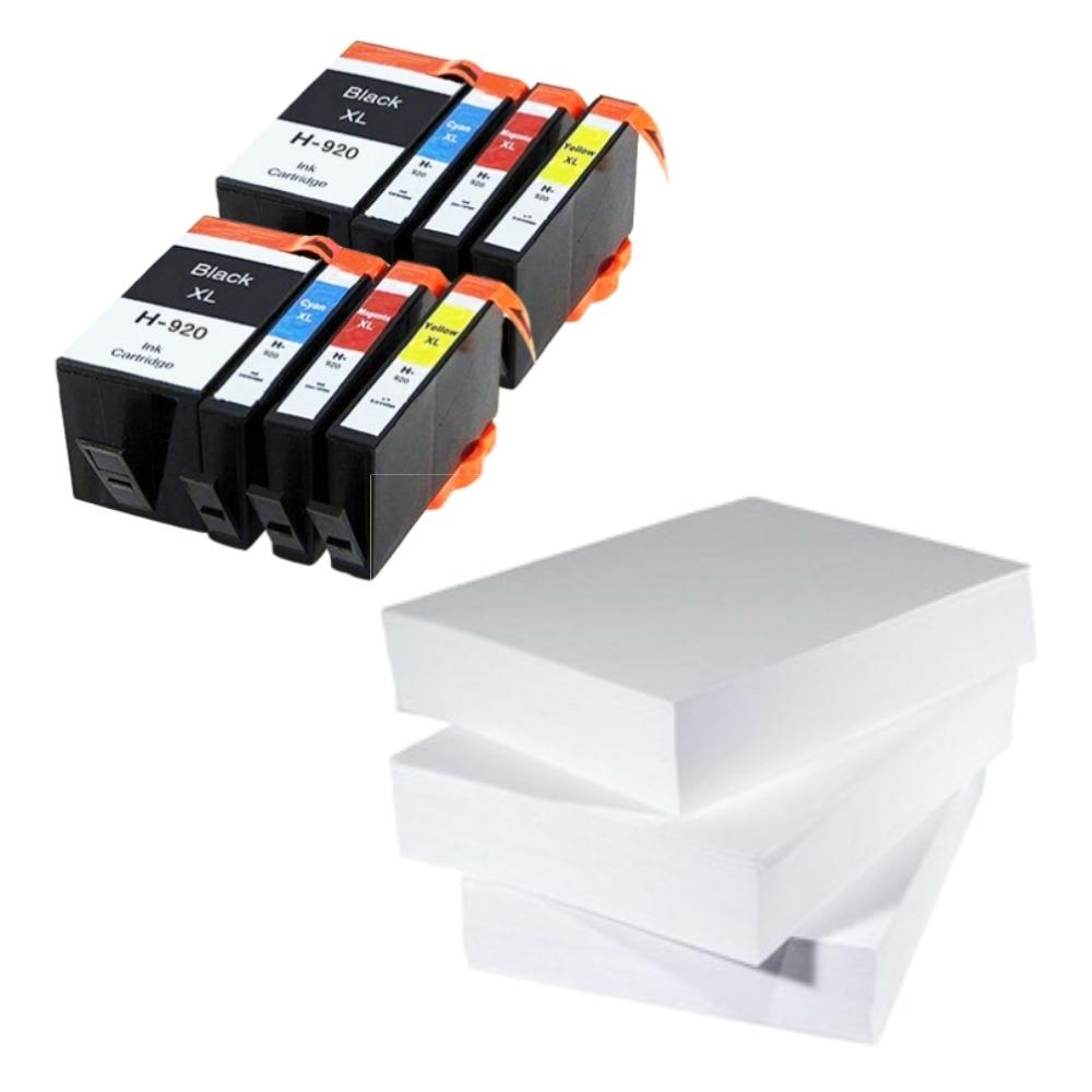 שלוש חבילות נייר ושני סטים דיו תואם HP 920XL