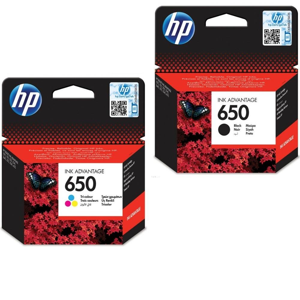 זוג מחסניות מקוריות שחור וצבעוני HP 650