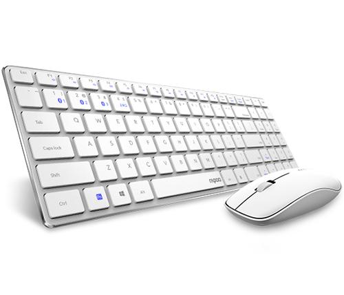 סט מקלדת ועכבר אלחוטיים Rapoo 9300MW (לבן)